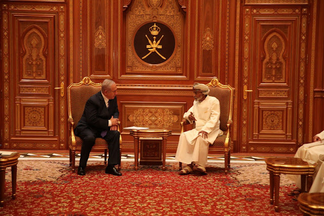 Israeli PM Netanyahu and Sultan Qaboos on the right on Friday in Muscat