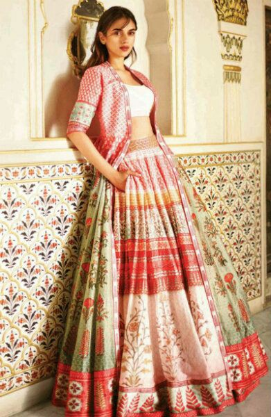 aa44bd476 Lehengas dont have to weigh kilos for it to look wedding appropriate. Even  light printed lehengas look great especially for summer weddings.