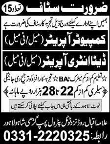 Male Female Jobs in Lahore