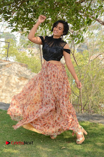 Actress Chetana Uttej Stills in Floral Long Skirt at Pichiga Nachav Movie Press Meet  0121.JPG