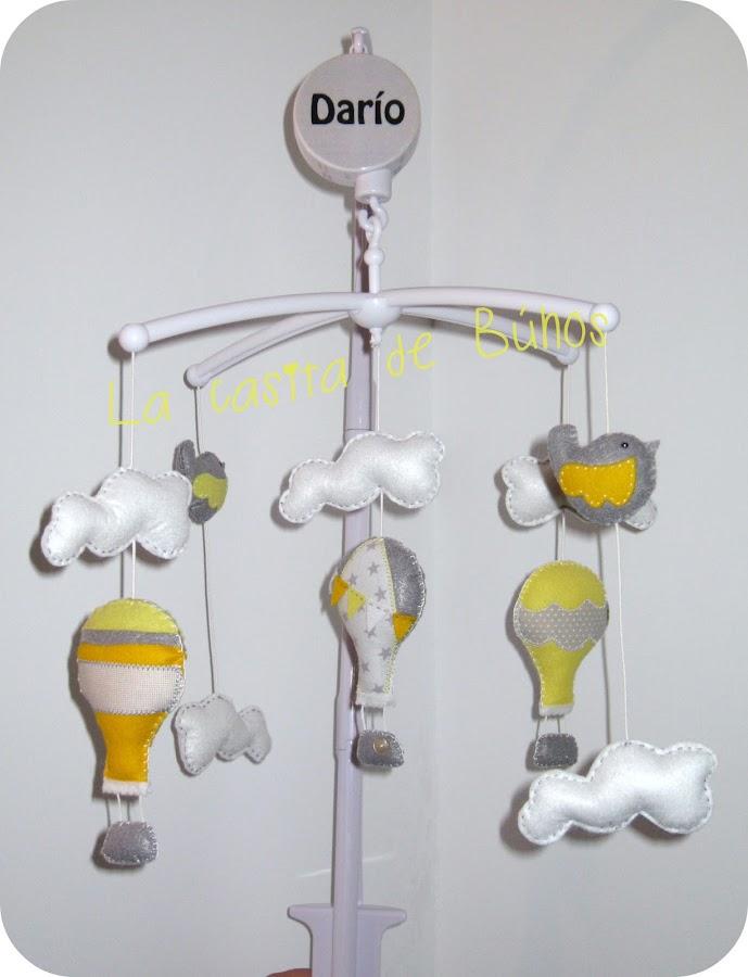 Móvil cuna globos y pájaros - Felt crib mobile balloon