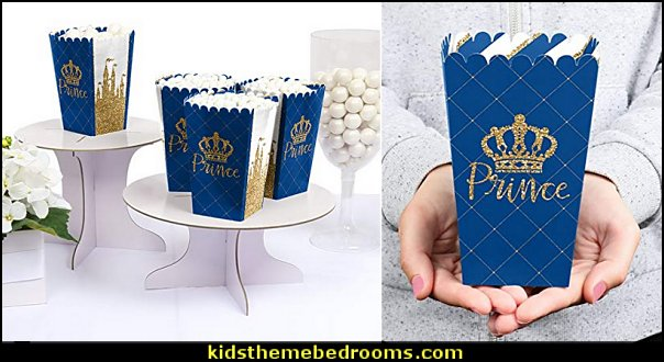 Royal Prince Charming - Baby Shower or Birthday Party Favor Popcorn Treat Boxes  Little Prince party decorations - Prince Baby Shower - Little Prince Birthday Party supplies -  Little Prince Baby shower cake - Little Prince gold crown cake topper - royal king themed party - Prince themed party - Royal Prince themed baby shower  - Prince and king themed birthday party - Royal themed decorations