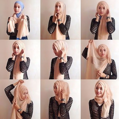 25 Kreasi Tutorial Hijab Segi Empat Simple 2018