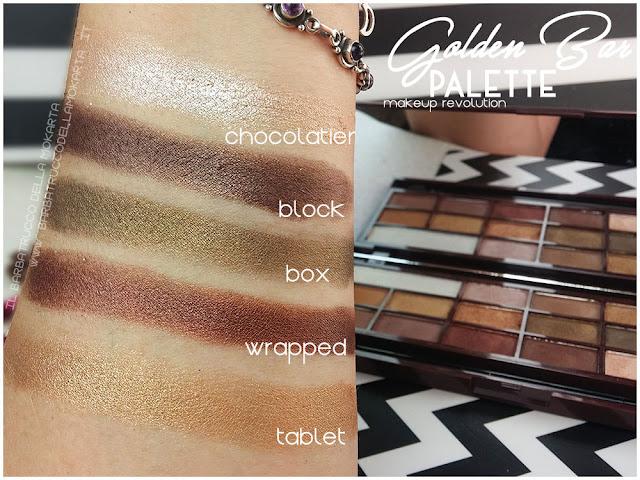 golden Bar makeup revolution palette choccolate swatches 3