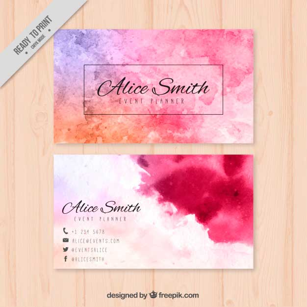 Colored Corporate Card in Watercolor Style