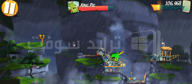 صورة توضح المراحل المختلفة للعبة الطيور الغاضبة