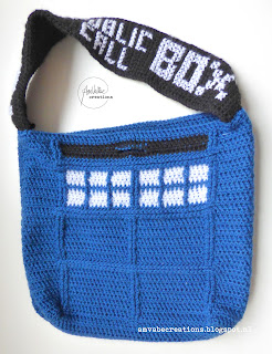 Crochet Doctor Who Police Box Tardis Bag