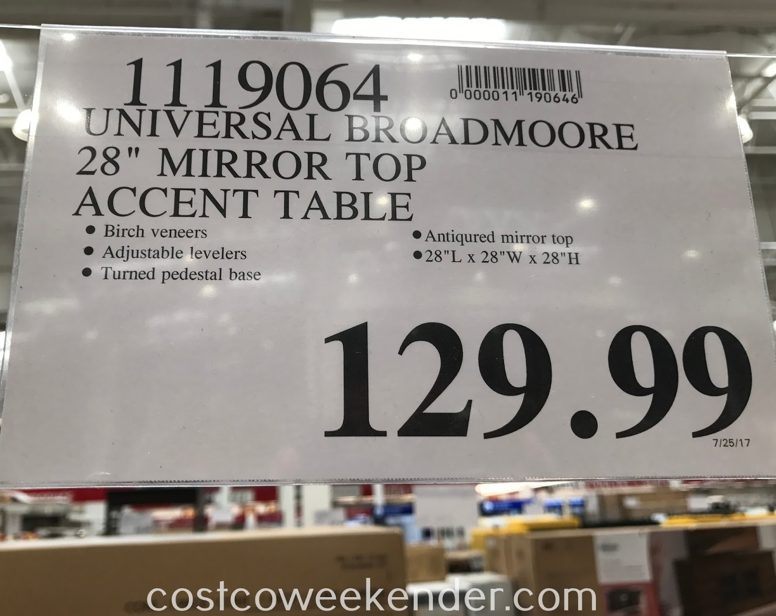 Deal for the Universal Broadmoore Mirror Top Accent Table at Costco