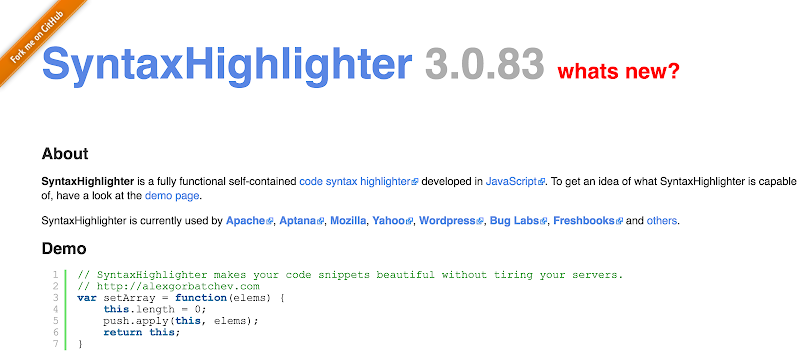 SyntaxHighlighter javascript Plugin syntax highlighters for web