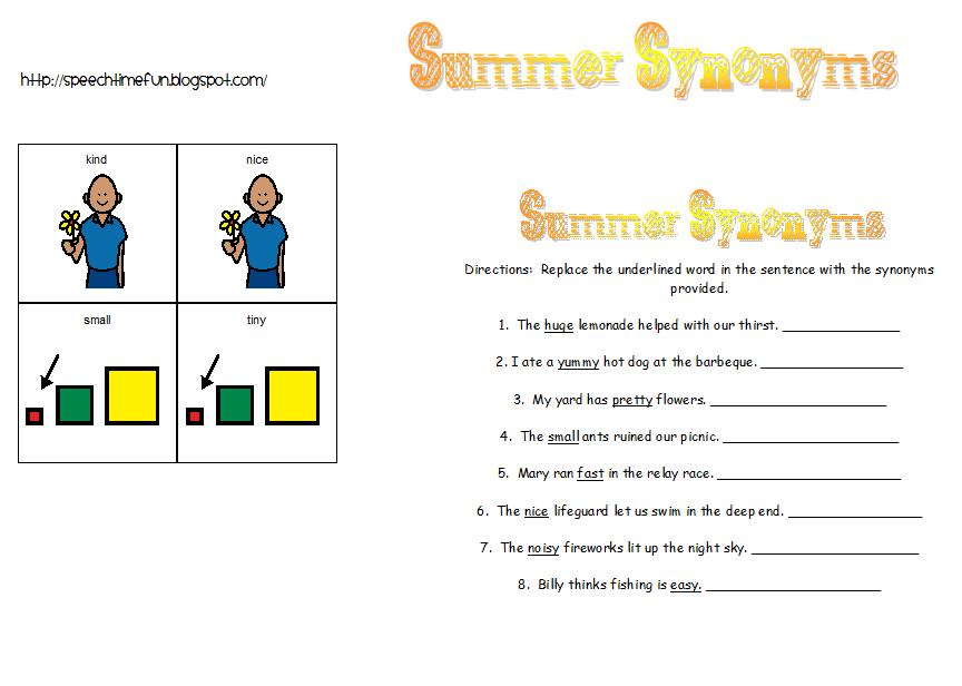 Summer Synonyms! - Speech Time Fun: Speech and Language Activities