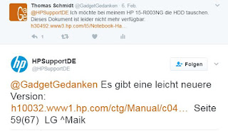 Screenshot: HP Support antwortet über Twitter