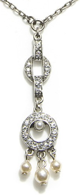 Art Deco-style Ben-Amun Double Circle Pendant Necklace. Via Diamonds in the Library.