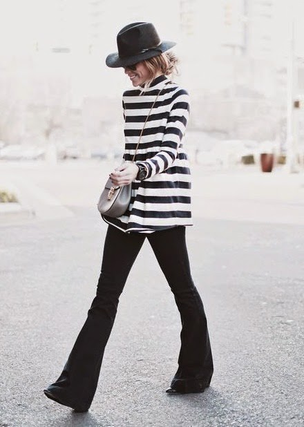 Wearing a Flare Jeans-Bell Bottom, Stripes and Hat