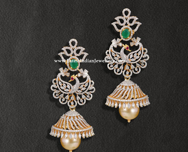 Peacock Diamond Jhumkas from Swarna Sri