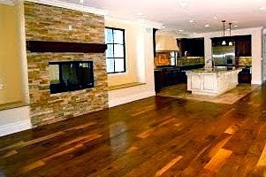 Living room with hardwood floor and fireplace remodel example.