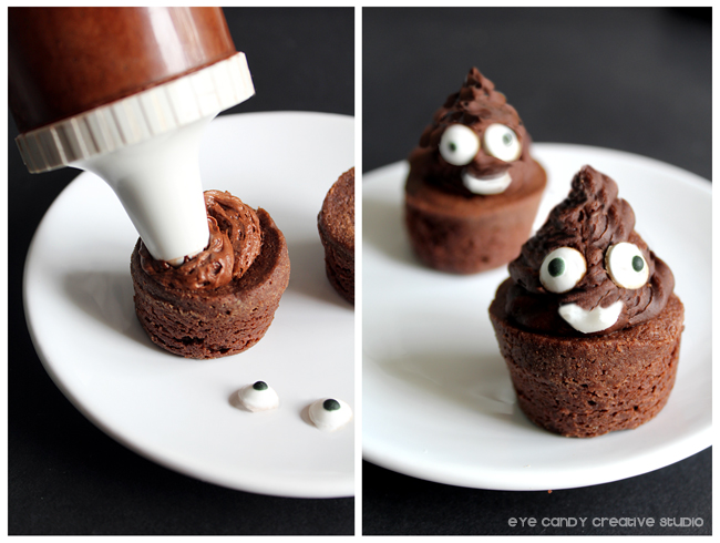 brownies, frosting, edible eyeballs, poo emojis, emoji party ideas