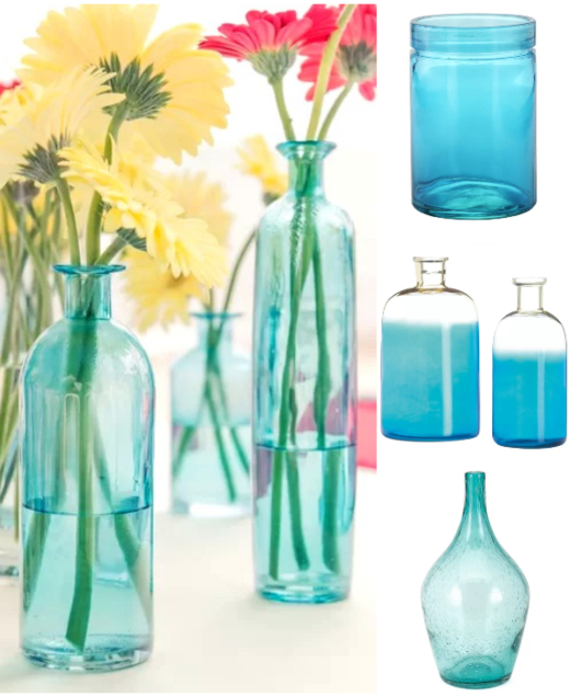 Blue Glass Vase for Coastal Style Flower Displays Arrangements