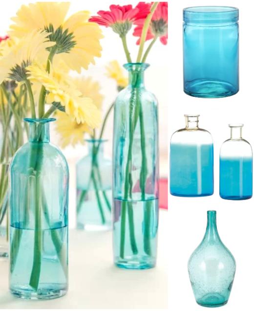 Blue Glass Vase for Coastal Style Flower Displays Arrangements