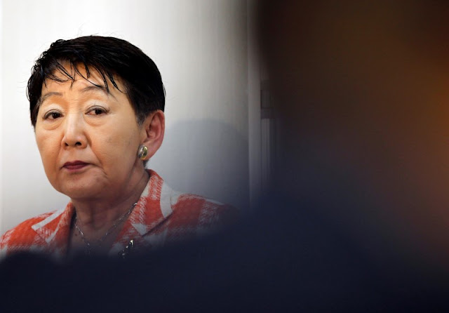 Image Attribute: Japan's Justice Minister Keiko Chiba speaks during a news conference at the ministry in Tokyo August 27, 2010.  REUTERS/Yuriko Nakao/File Photo