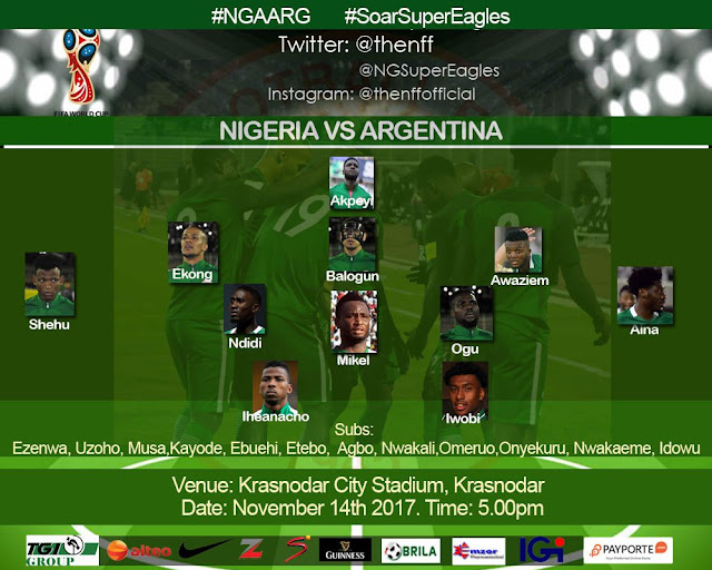 Starting lineup: Nigeria vs Argentina