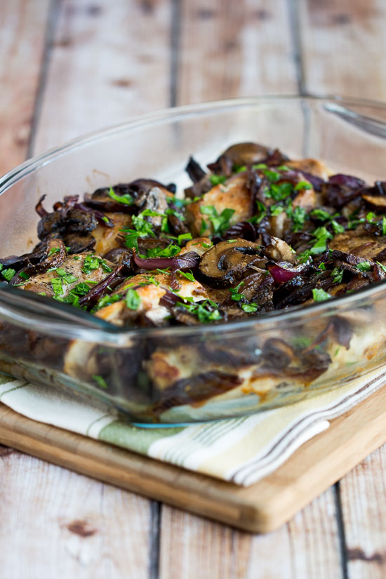 Roasted Chicken Thighs with Mushrooms, Onions, and Rosemary found on KalynsKitchen.com