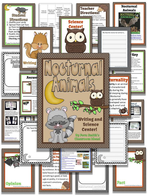 http://www.teacherspayteachers.com/Product/Nocturnal-Animals-Writing-and-Science-Center-1027983