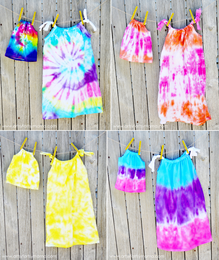 Dolly & Me Tie-Dye Dresses Tutorial at artsyfartsymama.com #TieDyeYourSummer