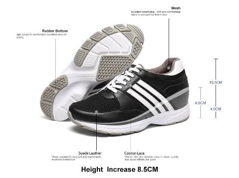 3.35 inch trendy microfiber sport height shoes Black-Price: US$ 119.00