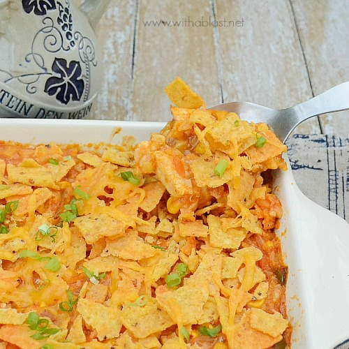 Corn Chip Chicken Casserole ~ Delicious use for leftover Chicken and Rice or use rotisserie chicken ~ easy mix-and-bake dinner recipe #QuickDinner #ChickenCasserole