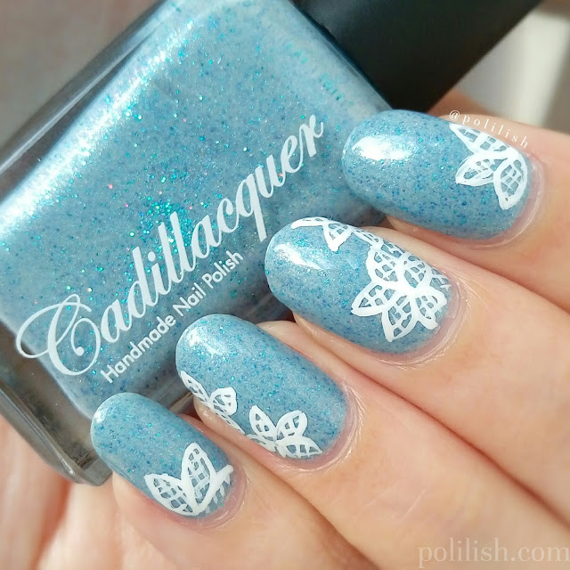 Freehand floral lace nail art featuring Cadillacquer Rán   polilish