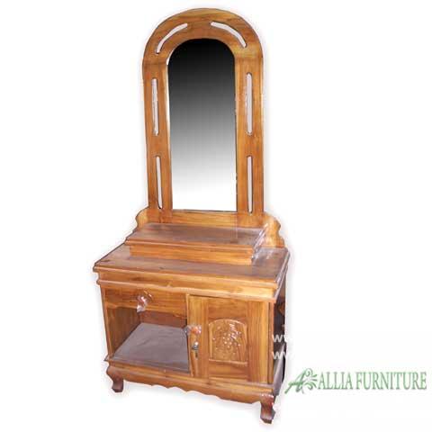 Meja Rias Kaca Kayu Jati Model Cakra Allia Furniture