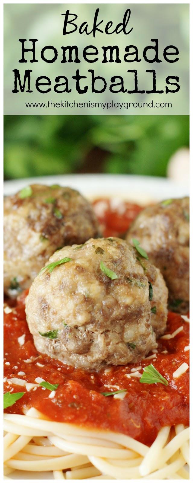 Baked Homemade Meatballs ~ full of flavor and the tender meatball ...