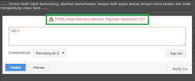 Peringatan Jika Menyisipkan Kode HTML <div>