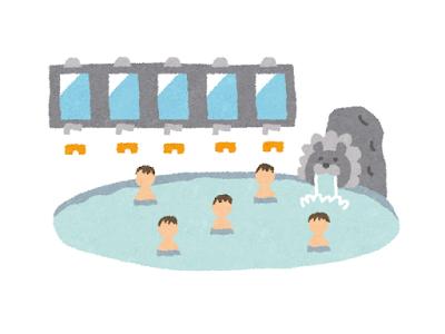 温泉大浴場に集う人々