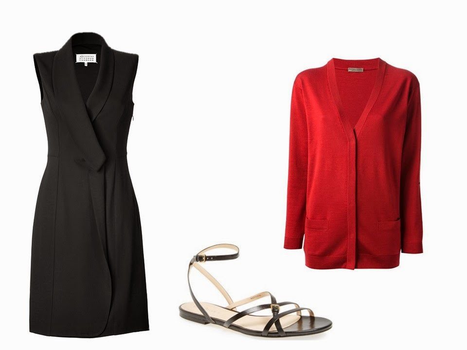black dress black sandals and red cardigan