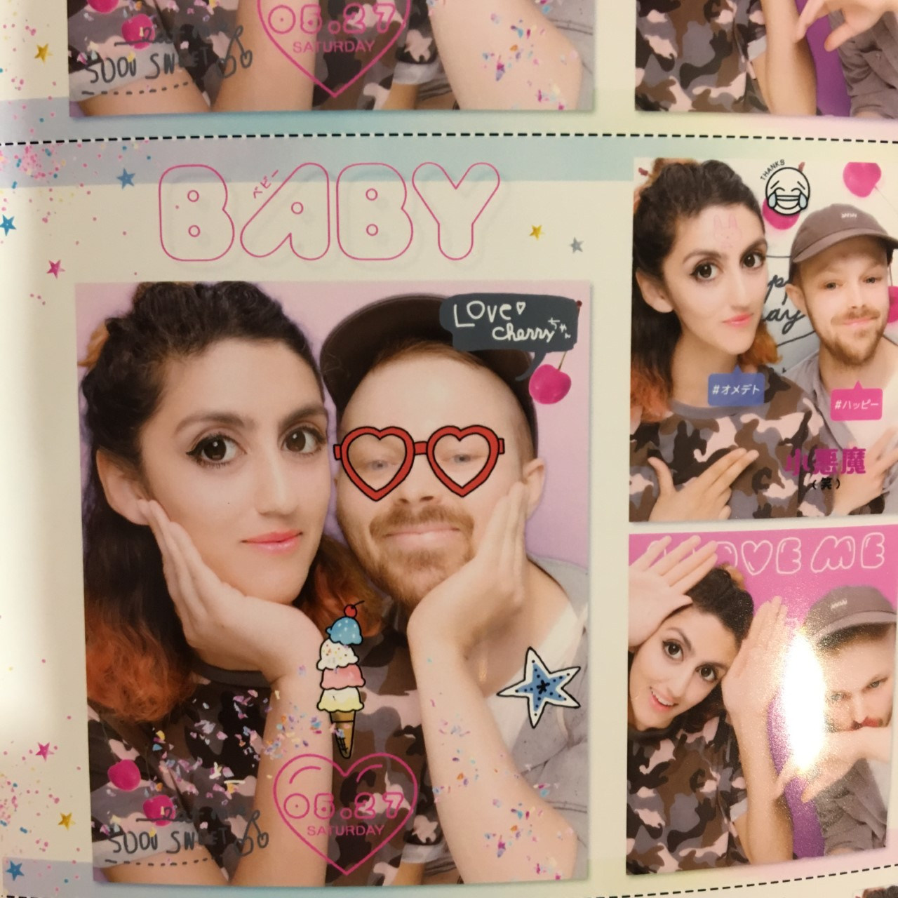 Had a go at the purikura machines in Tokyo, Japan, which are photo booths where you can make photo stickers with your own doodles .