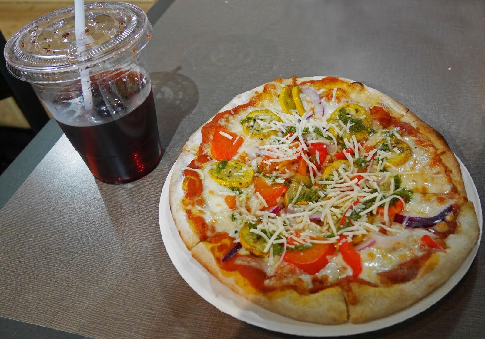 Rocky Mountain Flatbread Company pizza in Banff town, Alberta