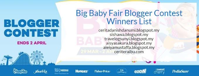 Pemenang Big Baby Fair Blogger Contest Dah Diumumkan