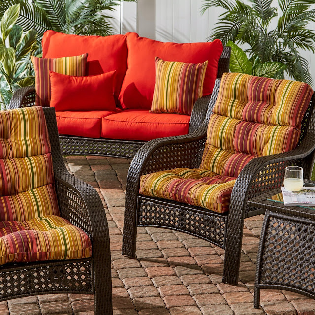 Greendale Home Fashions Indoor/Outdoor High Back Chair Cushions, Kinnabari Stripe, Set of 2