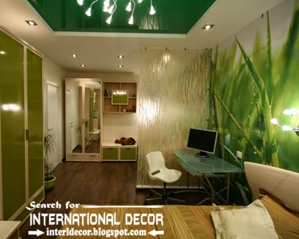 wall murals wallpaper, green stretch ceiling, living room wall mural