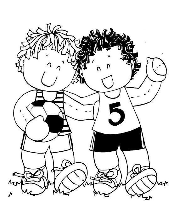 Desenho De Criancas Brincando De Futebol Para Colorir Desenhos