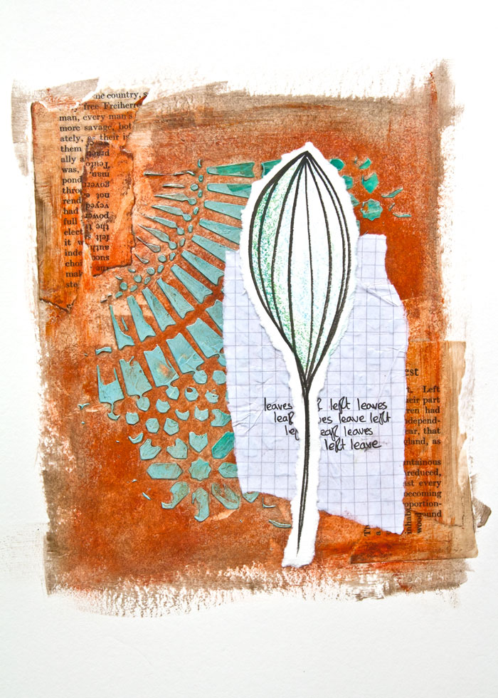 Acrylic glazing art journal page by Kim Dellow. There is a video tutorial too!