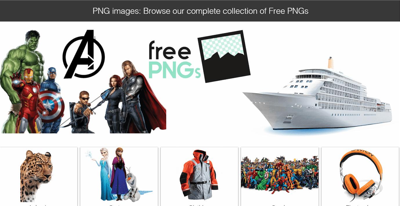 FreePNGs 收藏各種主題的免費 PNG 圖庫