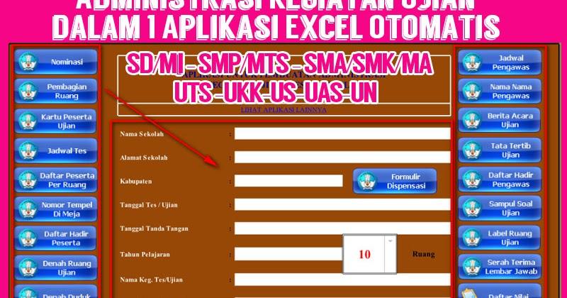 Administrasi Kegiatan Ujian Dalam 1 Aplikasi Excel Otomatis Administrasi Pendidikan