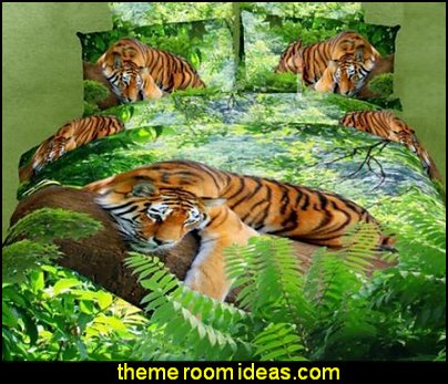 Green Color Tiger Print 4 Piece Bedding Sets