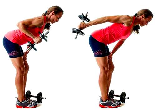 Triceps kick with dumbbell or pulley.