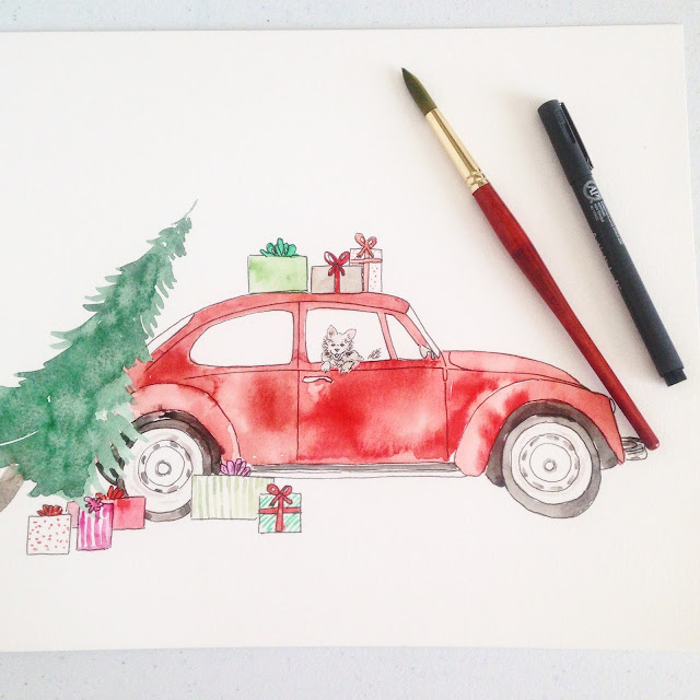 original watercolor red vw bug car Christmas painting