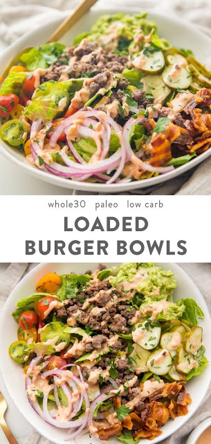 Burger Bowls (Whole30, Paleo, Low Carb) #Burger #Bowls #Dinner #Healthydinner #Healthyrecipe #Lowcarb #Keto