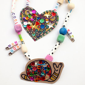 Super cute and fun kids craft- cardboard and safety pin necklace