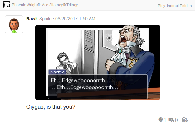 Manfred von Karma Edgeworth Scream Giygas Phoenix Wright Ace Attorney Trilogy 3DS Miiverse Capcom Nintendo